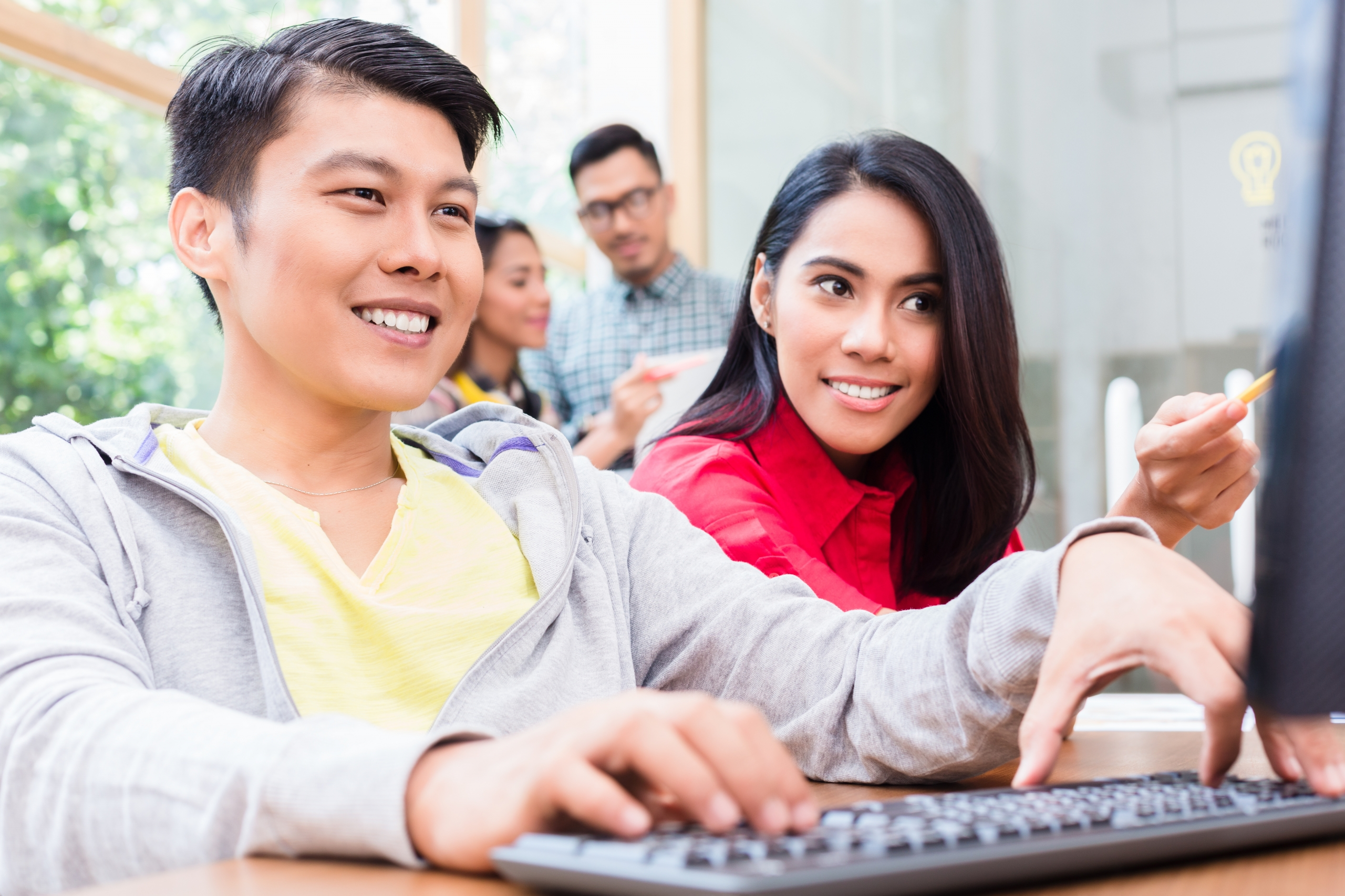 "Young Asian adults (interacting at school, with laptop : for 4Korners ""Get Involved"" header image, Homepage"